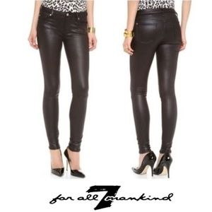 7 FOR ALL MANKIND Crackle Leather Skinny Jeans